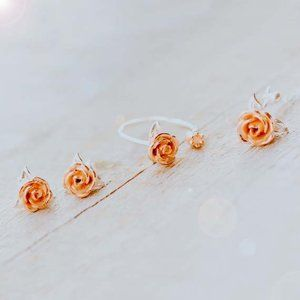 Rose Gold Flower Jewelry Set Floral Jewelry